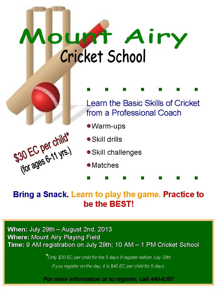 Mount Airy Cricket School, Grenada starts next week