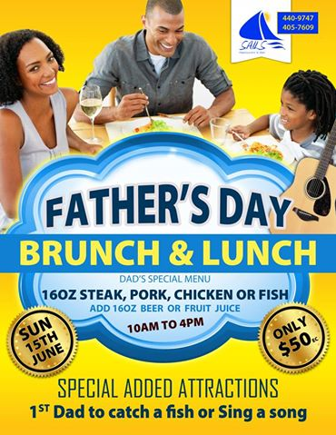 Father's Day June 15th at Sails Restaurant and Bar Grenada